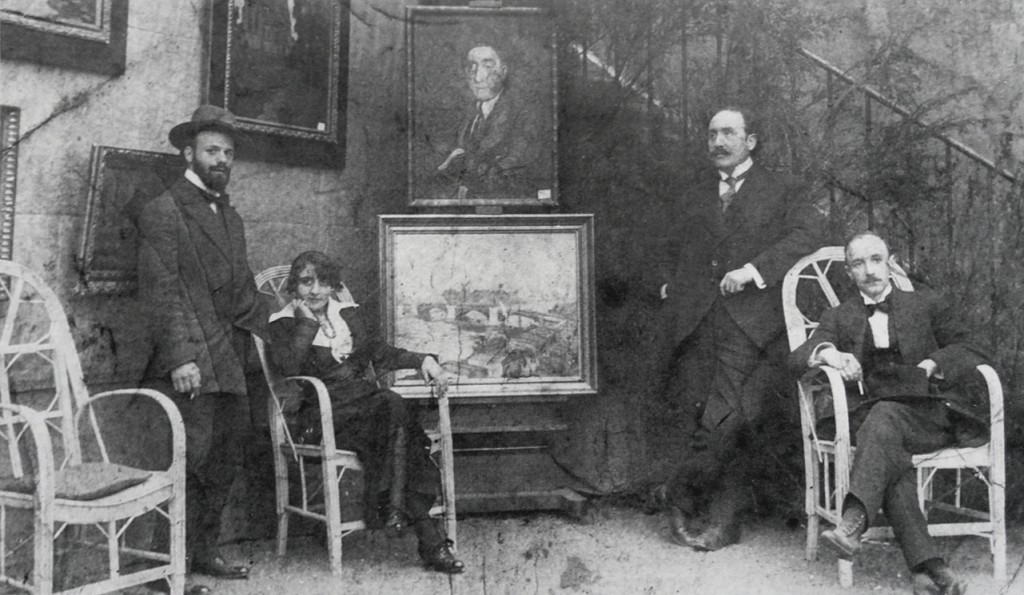Robert Antoine Pinchon, Mrs. Dumont, La Broue, and Pierre Dumont (from left to right), before World War I