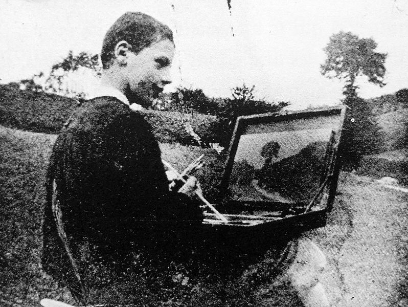 1898 Robert on a painting trip with his father