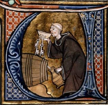 Benedictine monk checking the wine