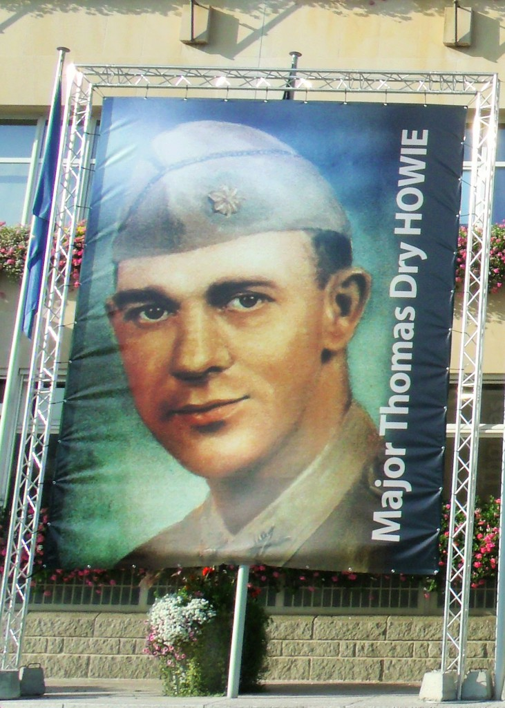 Major Thomas Dry Howie, banner on the Hôtel de Ville, summer 2014 Saint-Lô