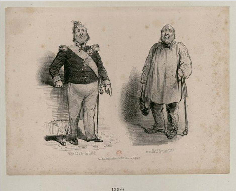 """Paris 24 February 1848 - 26 February 1848 Trouville"" two cartoons of Louis Philippe, on which it is seen to the left in uniform, his chest crossed by the Grand Cordon of the Legion of Honour, right his whiskers gone,  wearing a peasant blouse and heavy shoes."