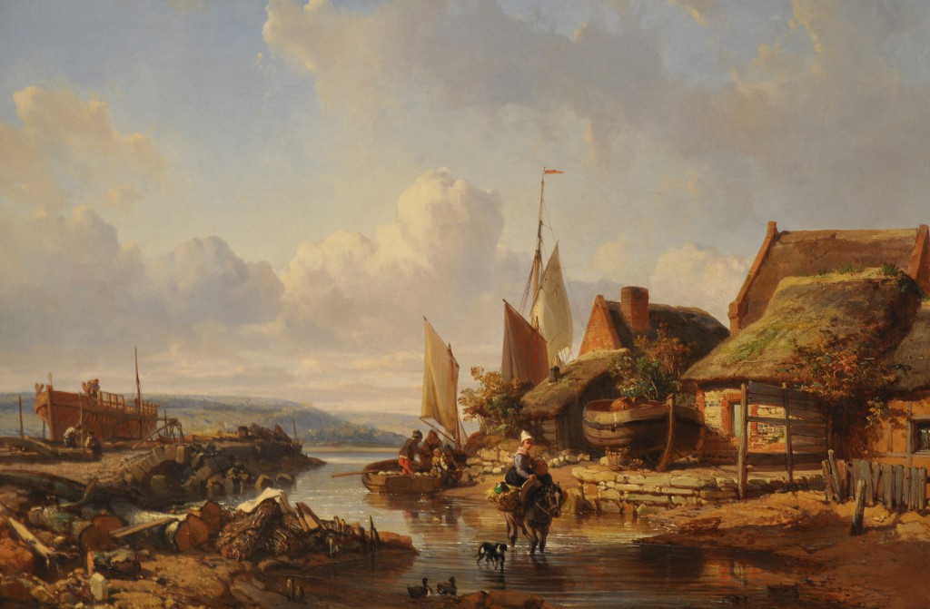 The Ruisseau creek meets La Touques at Trouville, by Charles Mozin
