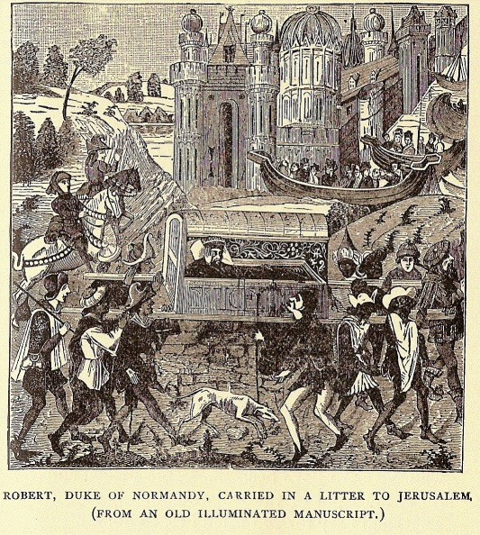 An enlightened Robert Duke of Normandy being carried in a litter to Jerusalem
