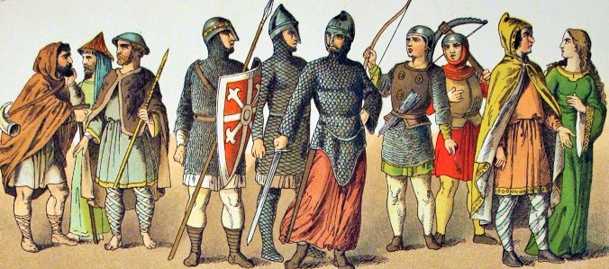 Normans Costumes of the XI century by Albert Kretschmer 1882.  It is not easy finding something more contemporary.