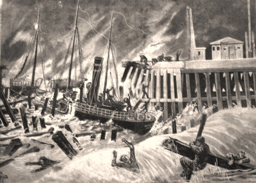 Artist's impression of the disaster; illustration from Petit Gironde magazine 1899