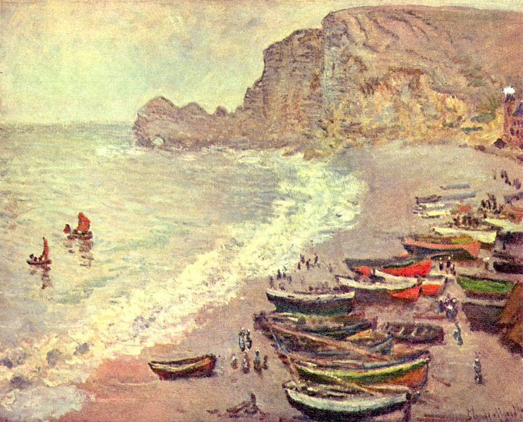Fishing boats on the beach at Etretat by Monet - La Porte d'Amont can be seen in the background.