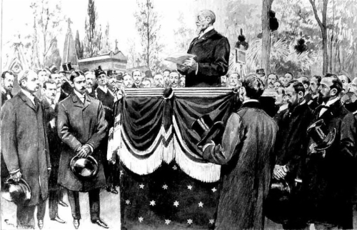 Anatole France speaking at the funeral of Emile Zola