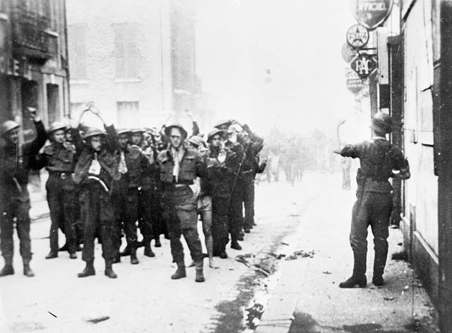 Canadian Prisoners of War being led through Dieppe