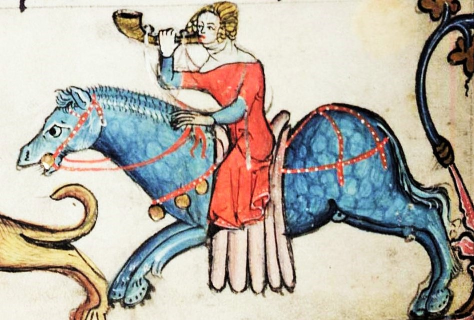 No, sadly not Harlette, another medieval miss looking fetching on a filly (Bodleian Alexander manuscript)