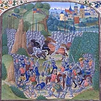 Jean de Carrouges battling in Scotland, Miniature from Jean Froissart, Chroniques