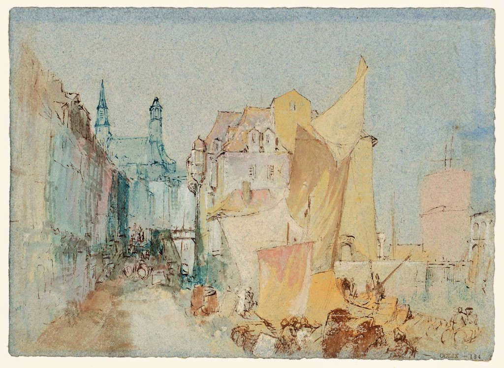 The Lieutenancy Building and surprisingly the Church of Sainte-Catherine at Honfleur, Normandy c.1832, JMW Turner, courtesy of Tate Gallery London