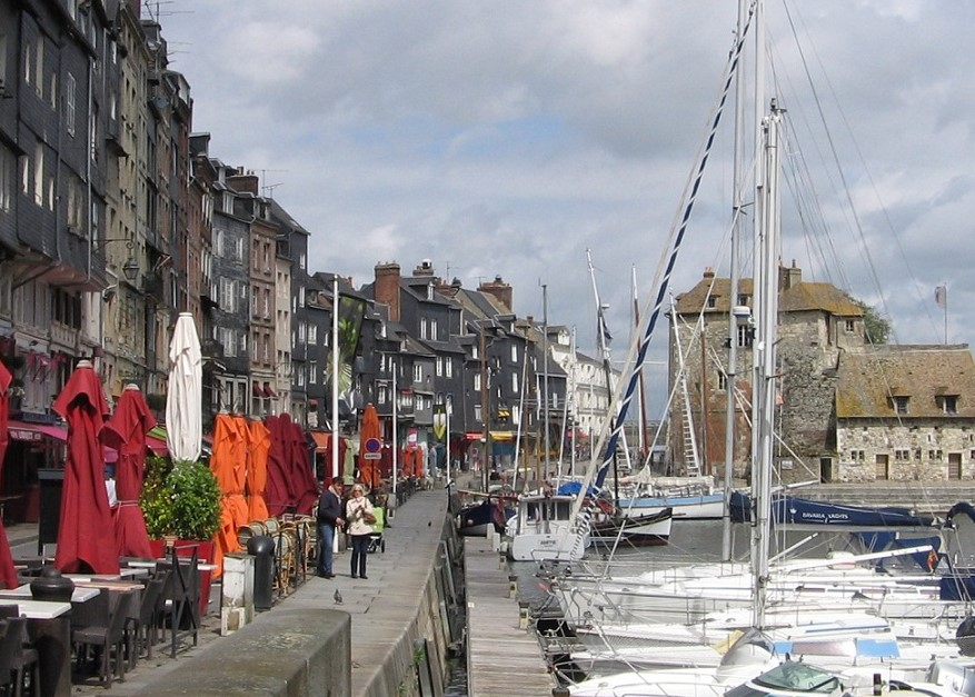 The Lieutenancy Building and Le Cheval Blanc in the distance - no sign of Church of Sainte-Catherine at Honfleur, Normandy