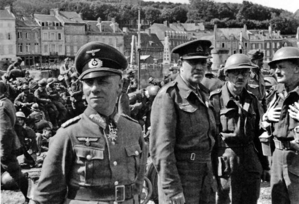 Major General V M Fortune, GOC [General Commanding Officer] 51st Highland Division (right), with General Major Erwin Rommel at St. Valéry after the surrender of the 51st Division to Rommel's 7th Panzer Division (12th June 1940)