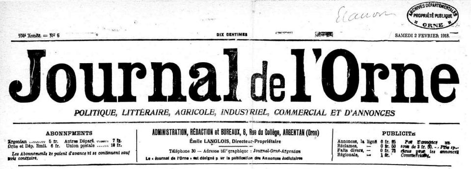 journal de L'Orne 2 Feb 1918