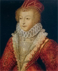 16th century portrait of Margaret of Valois, Queen of Navarre and of France. What's that she's wearing? Lots and lots of red!