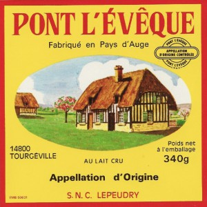 Pont l Eveque cheese label from Tourgeville Calvados