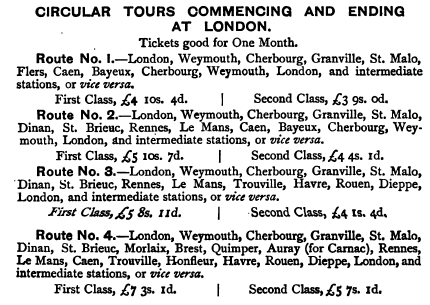 circular tours 1 ticket prices, vintage