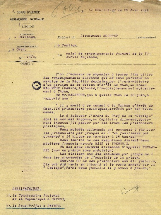Letter of 28 June 1944 describing the events of 6 June at the Caen prison.