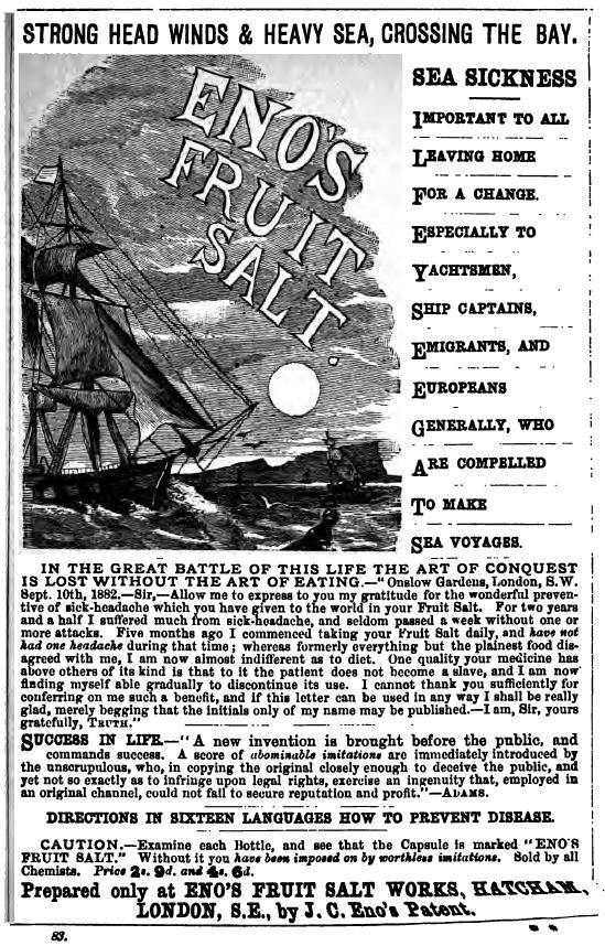 sea sickness pills advertisement cooks tours 1883