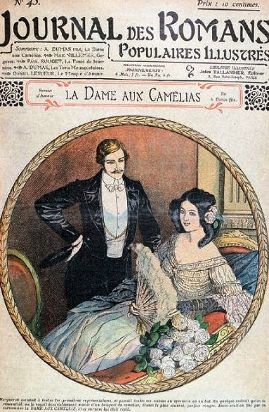 Cover of journal serialising The Lady of the Camellias by Alexandre Dumas