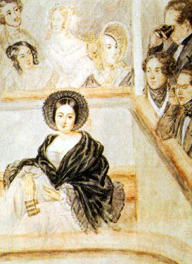 Watercolour of Marie Duplessis at the theatre by Camille Roqueplan