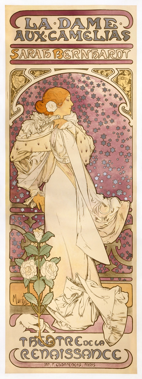 Alfons Mucha's 1896 poster for the play 'La Dame aux Camelias' played by Sarah Bernhardt