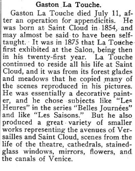 American Art News reports on the death of Gaston La Touche, July 1913