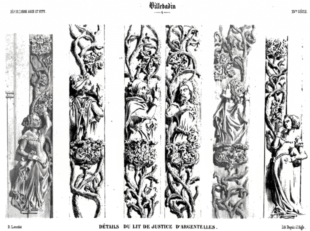 Detail of carvings, drawings by Dieudonné-Auguste Lancelot.