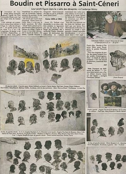 Newspaper article about the portraits upstairs in l'Auberge des Sœurs Moisy