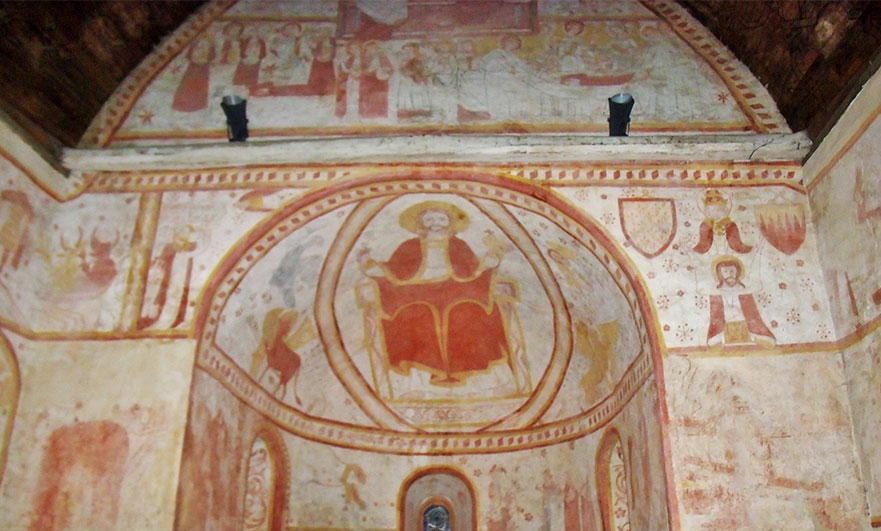 Wall paintings inside the church at Saint-Céneri (Orne)
