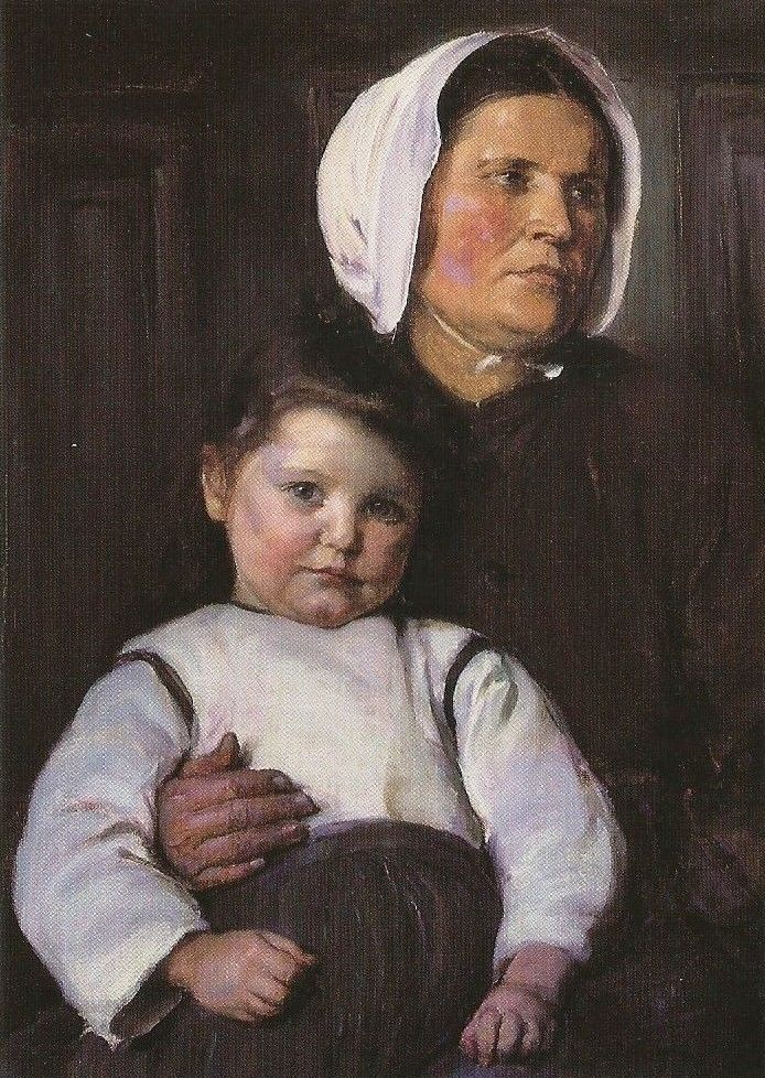 'Normandy Peasant Woman and her Child', oil on canvas painting by Elizabeth Nourse, 1900, Cincinnati Art Museum