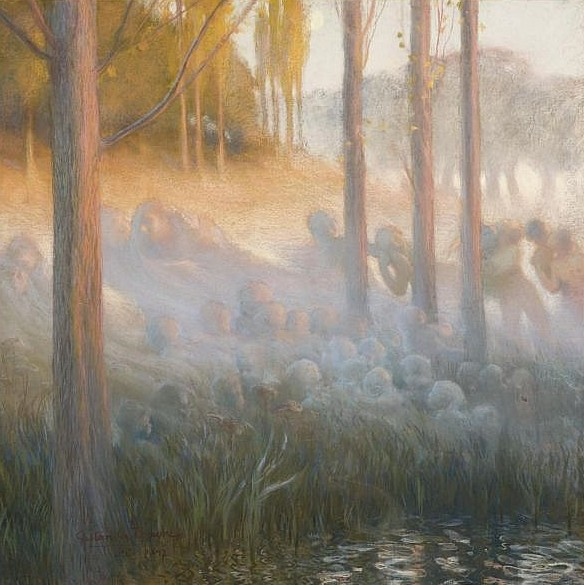 Esprits Nocturnes, pastel on paper laid on canvas, by Gaston La Touche