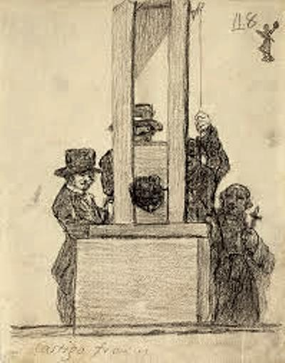 Francisco de Goya's pencil sketch 'The French Penalty' @1828