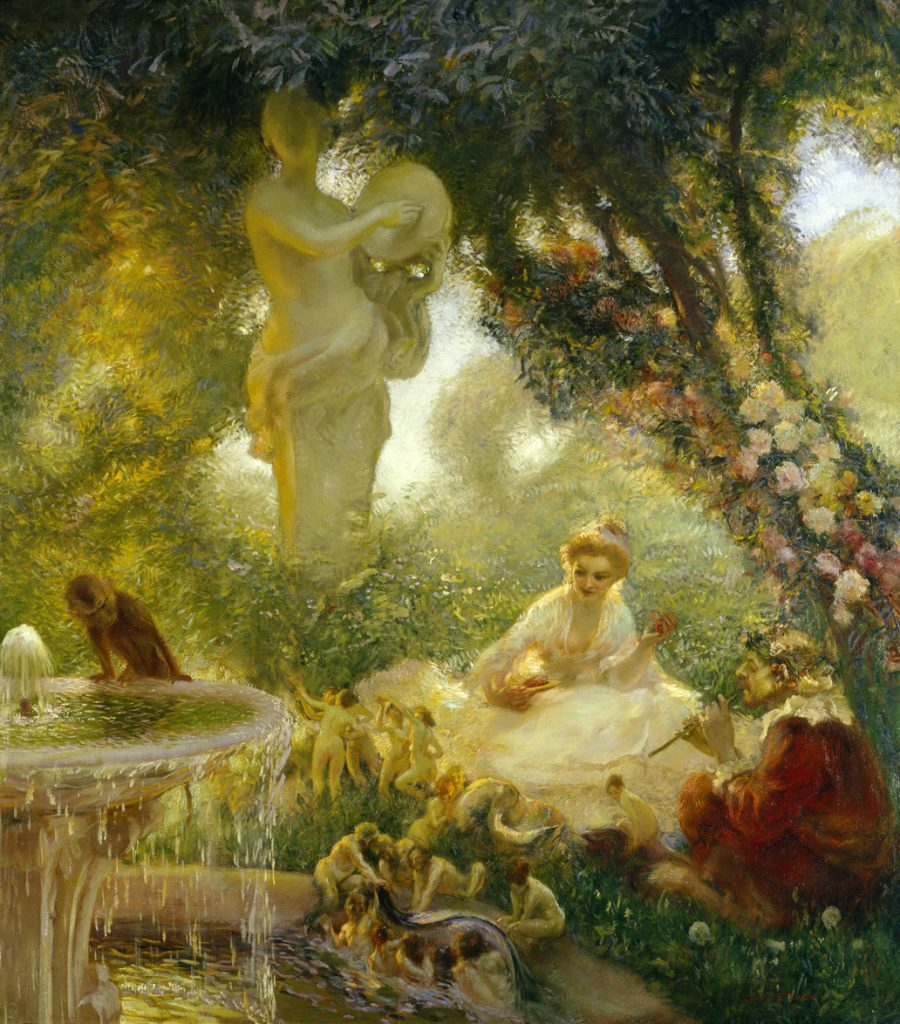 Le Jardin de la Fee, Fairy garden by Gaston La Touche - or 'A Typical Day In The Orne' as we know it.