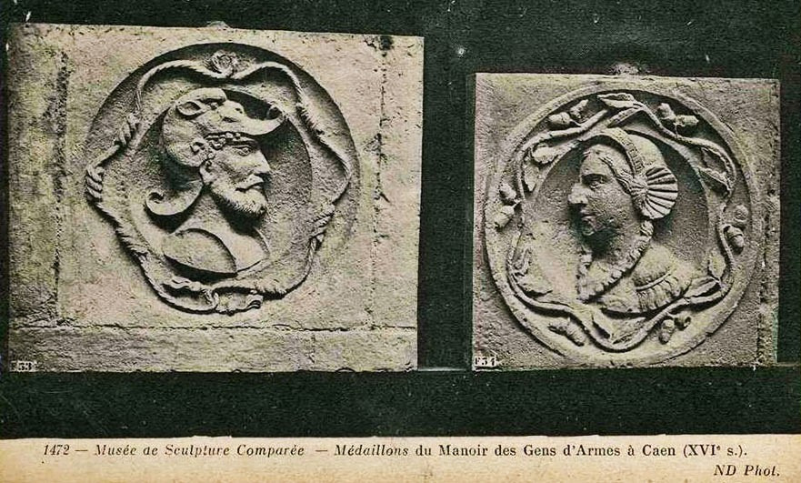 Vintage postcard from the Musee de Sculpture of medallions from the Manoir des gens d'Armes - possibly impressions of the originals