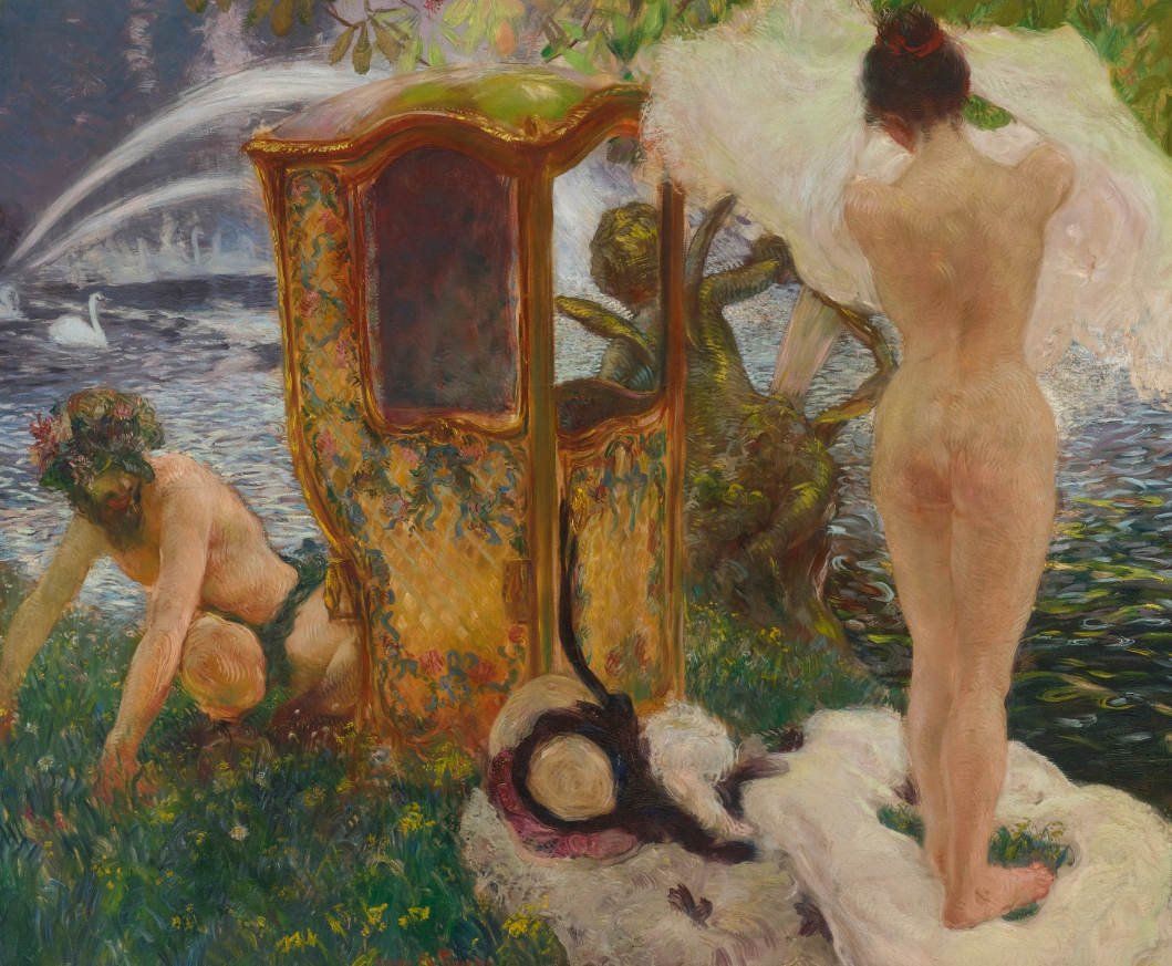 Section of the oil painting inscribed 'Gros Doibt' (Gaston's home in Champsecret, Orne Normany), by Gaston La Touche