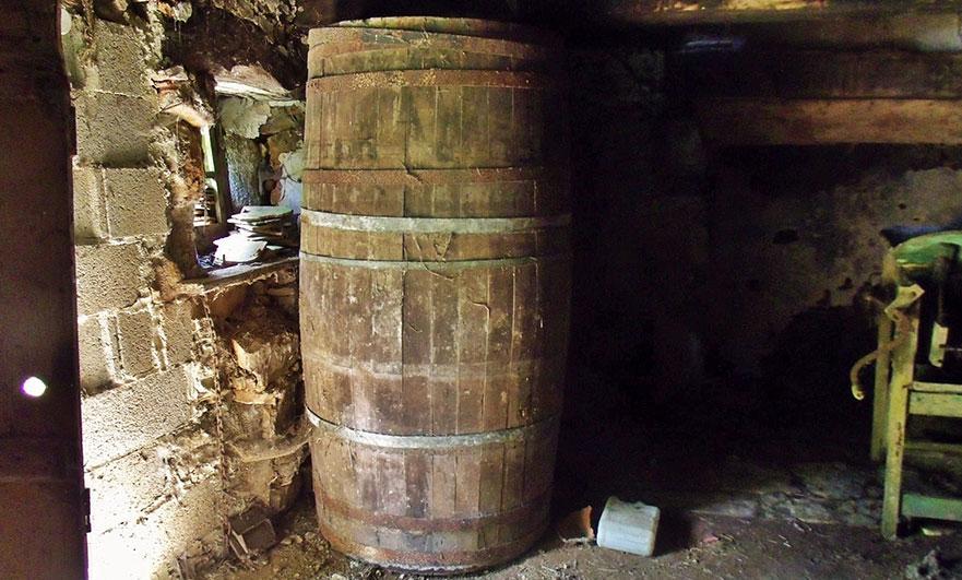 Huge barrel, inside the small barn