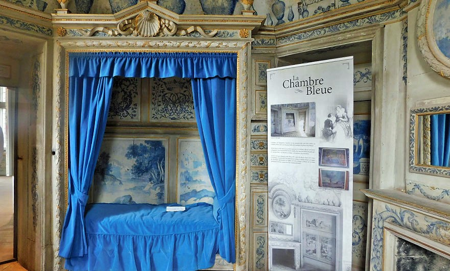 The blue chamber at Le Château des Ravalet, reportedly Marguerite's bedroom. Blue fade little in the sun so this room looks very similar to how it would have appeared hundreds of years ago.