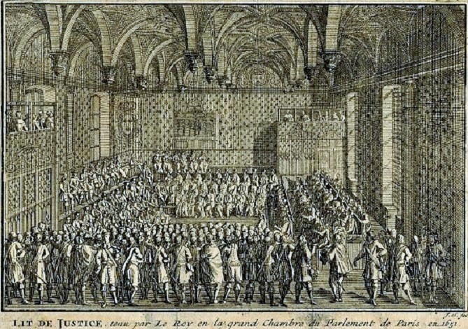 17th century etching of the Parlement de Paris