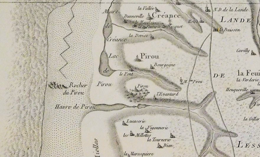 Look closely and you will see the castle of Pirou on this old map found inside the castle