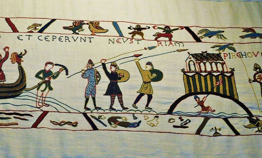 Attack! Pirou's early castle from the Pirou tapestry