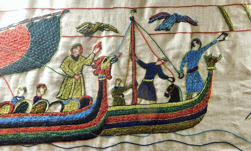 From the Pirou Tapestry, a brilliant telling of an old story created in Bayeux tapestry style, created between 1976 to 1992 by Thérèse Ozenne