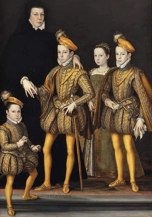 Catherine de Medici with her children in 1561; Ffrancois Charles IX Marguerite and Henri