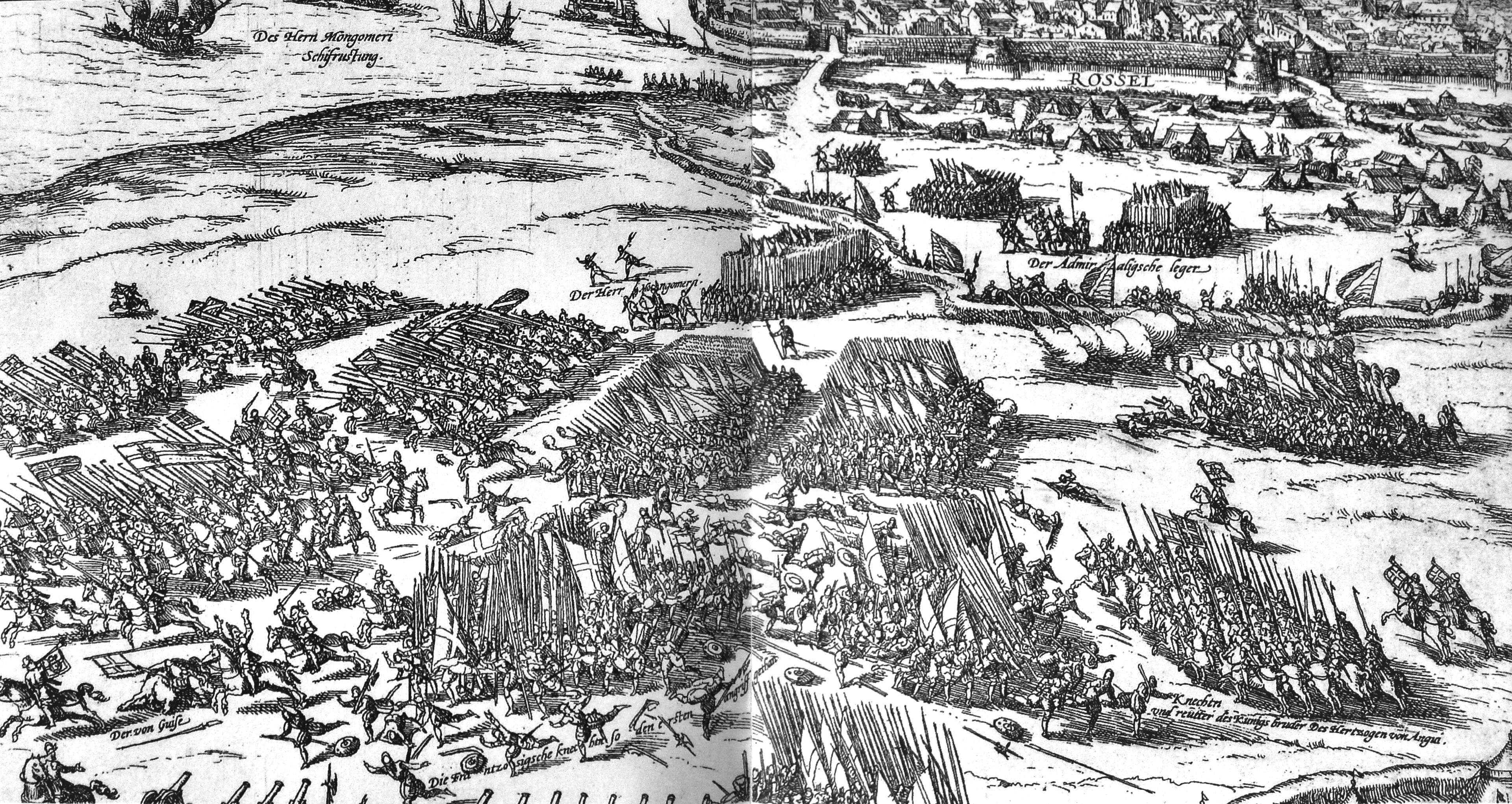 The siege at La Rochelle, Gabriel's fleet can be seen top left, he is near the centre