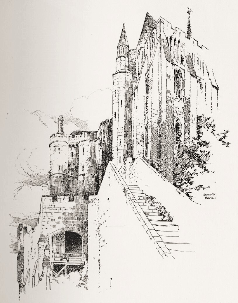 The Chatelet and La Merveille at Mont St Michel, by Gordon Home. The dark opening through the archway on the left is the main entrance to the abbey. On the right can be seen the tall narrow windows that light the three floors of Abbot Jourdain's great work.