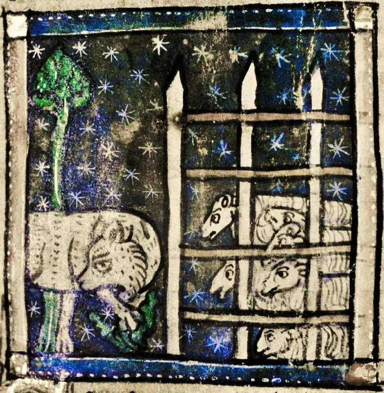 Wolf getting proper evils from the sheep for eating maartha - medieval illumination