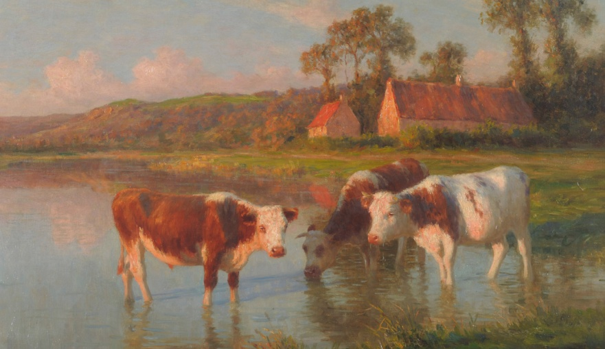 Félix Planquette 1873-1964 the cows at the edge of a pond at dusk