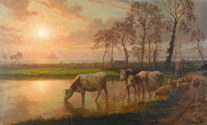 Sunset with cows and Mont Saint-Michel by Felix Planquette - not the prize winner but similar