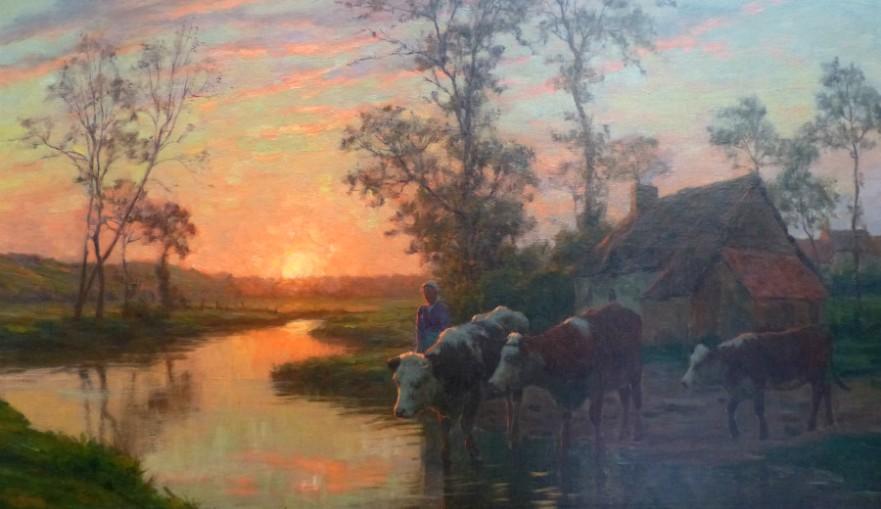 Felix Planquette cows sunset river