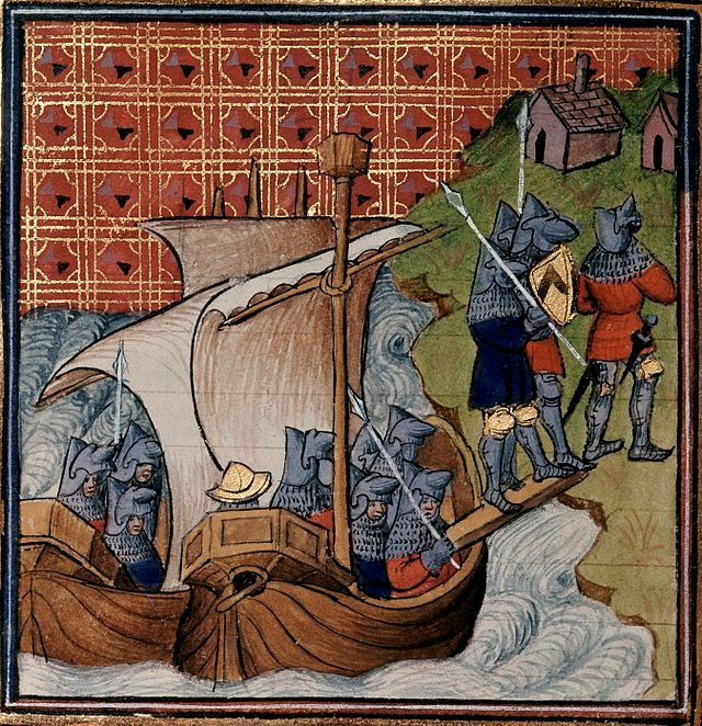 Edward, Geoffroy and their army arrive on the Cotentin coast